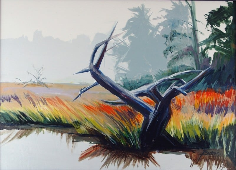 """Marsh Mist""  acrylic 18X24 $150 framed"
