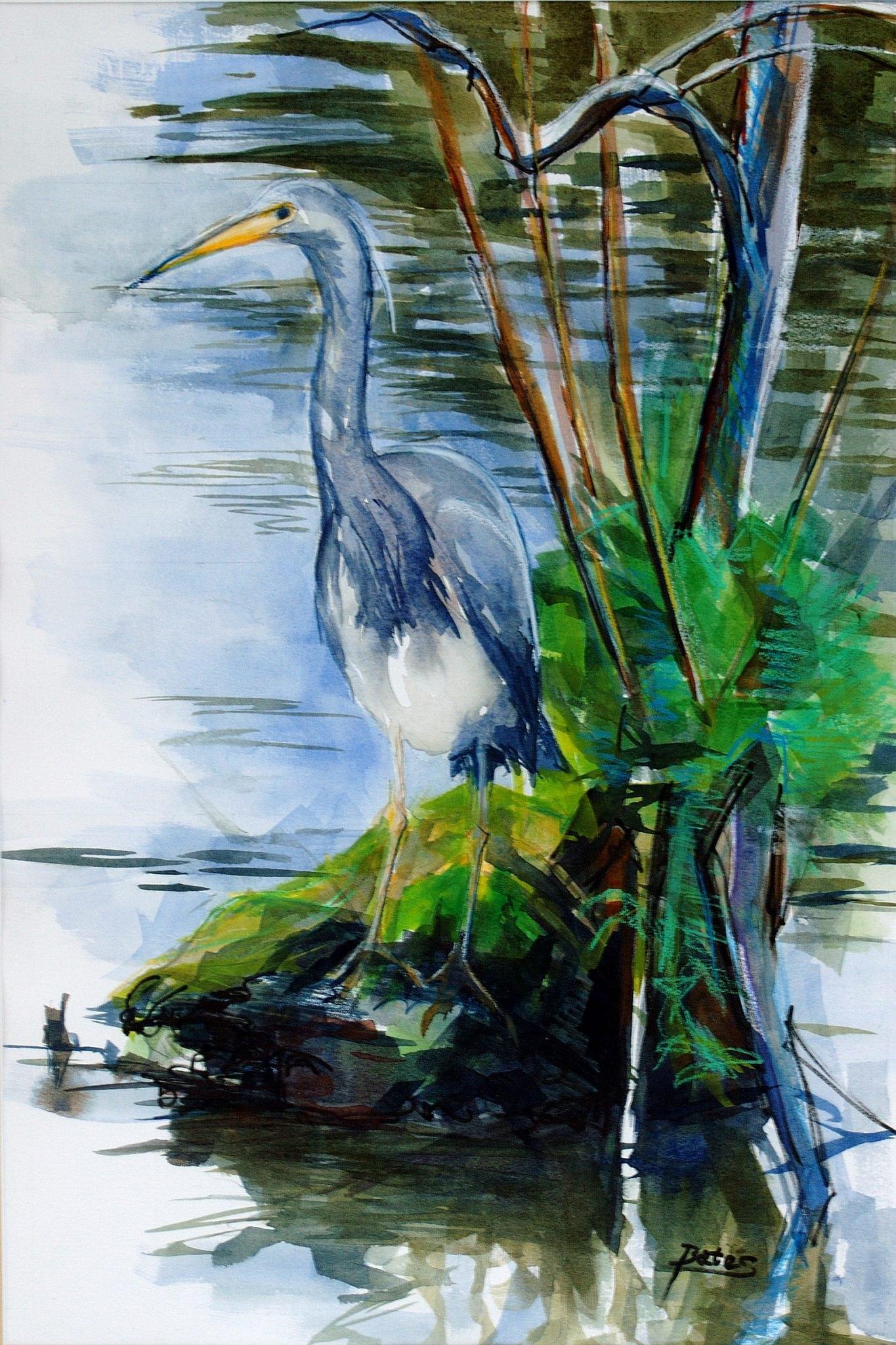"Philip Bates Artist ""Heron at Harris Neck"" 14X21 mixed media $200 framed"