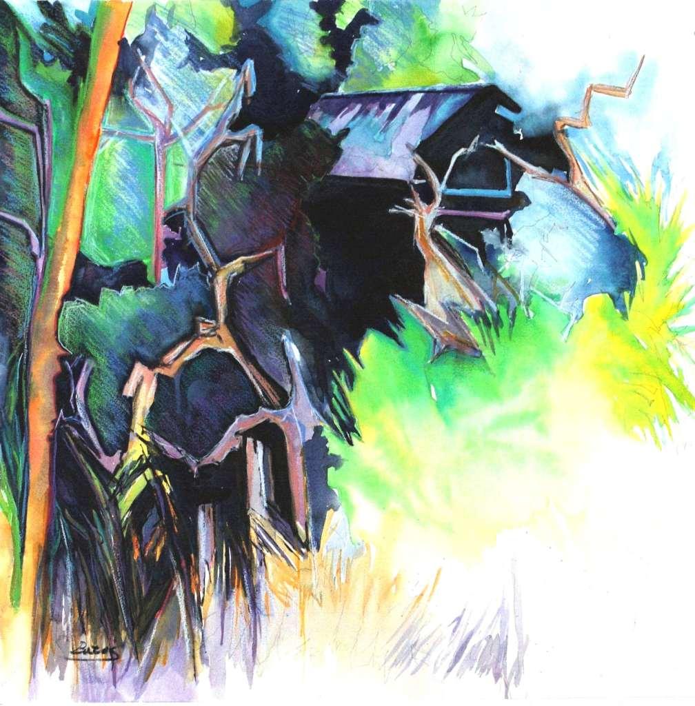 "Philip Bates Artist ""House on Julienton River"" Mixed Media 20X20 $150 unframed"