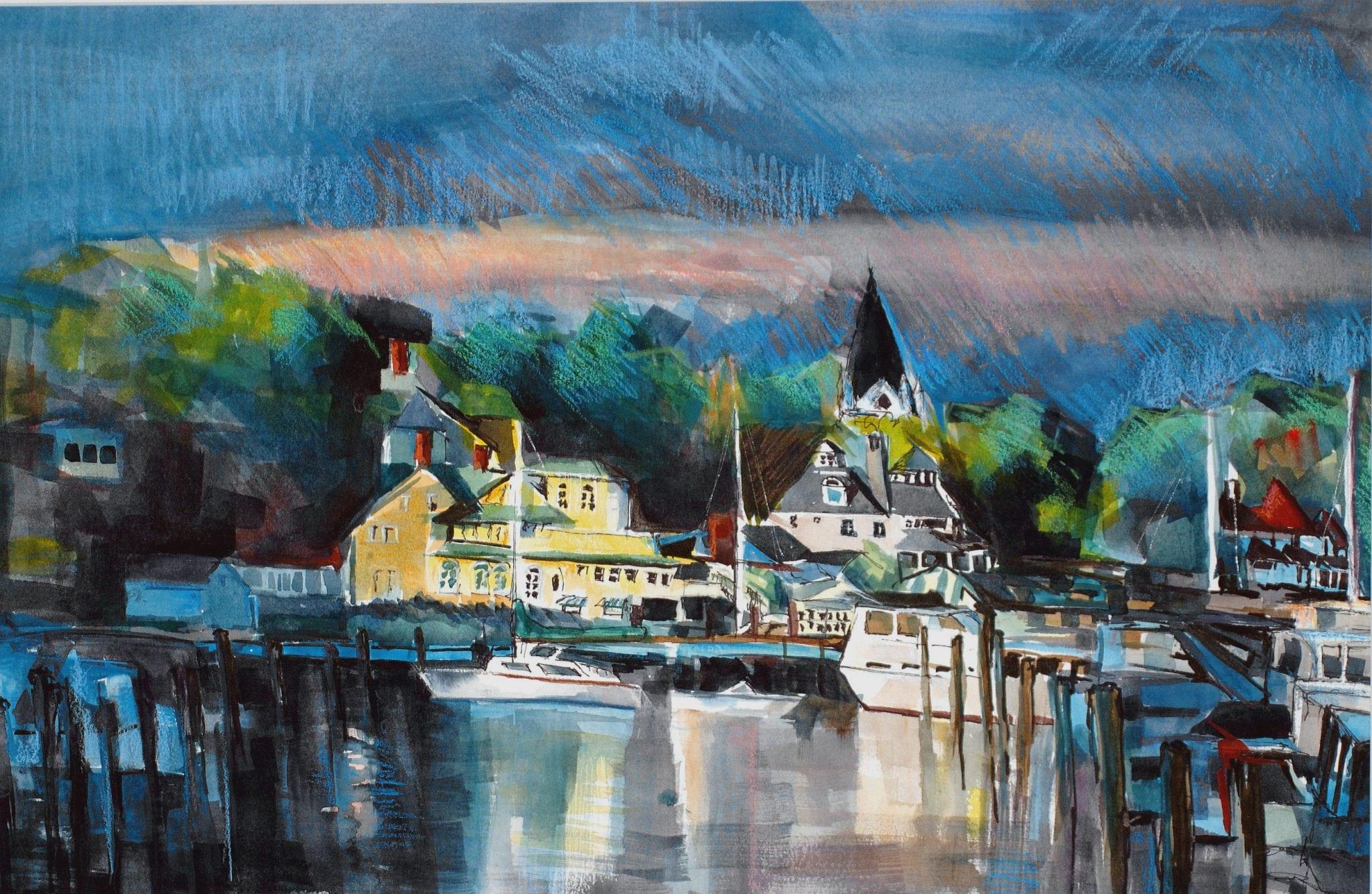 "Philip Bates Artist ""Mackinac Harbor"" Mixed Media 14X21 $150 (unframed)"