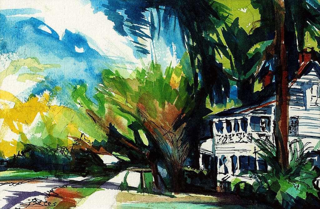 "Philip Bates Artist ""The Riverhouse- Darien"" 6X9 1/2 mixed media $100 framed"