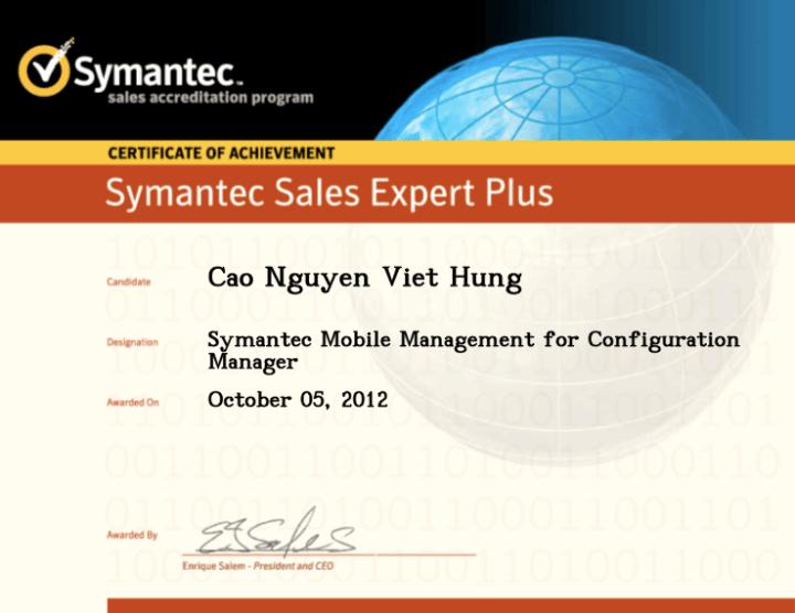 Symantec Sales Expert Plus (SSE+) – Symantec Mobile Management for Configuration Manager