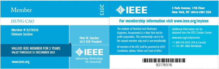IEEE – 2013 Membership Card