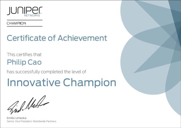 [2013] Philip Cao - Juniper Networks Innovative Champion