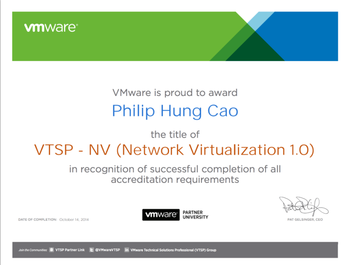 [2014] Philip Hung Cao - VMware Technical Sales Professional - Network Virtualization (VTSP-NV)