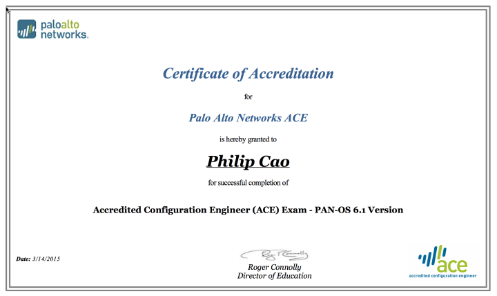 [2015] Philip Hung Cao - Accredited Configuration Engineer (ACE) 6.1