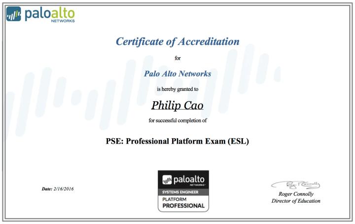 [2016] Philip Hung Cao - Palo Alto Networks PSE - Professional Platform