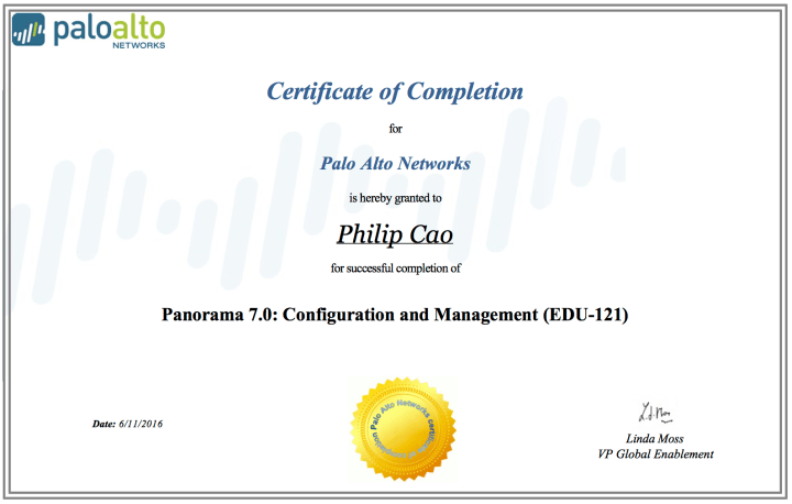 Panorama 7.0: Configuration and Management (EDU-121) – Certificate of Completion