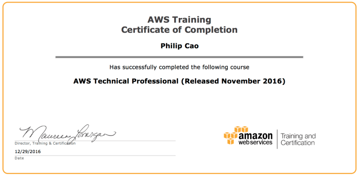AWS Technical Professional (Released November 2016) – Certificate of Completion