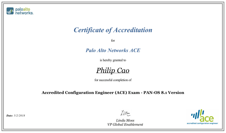 Accredited Configuration Engineer (ACE): PAN-OS 8.1