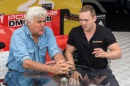 Jay Leno being interviewed in the pits