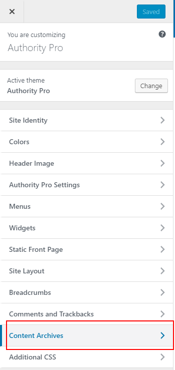 Authority Pro Customizer content archives tab