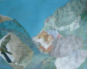 At Lulworth, oils and collage on paper