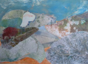Plain View, Orange, oil and collage on paper. 380 x 550 mm