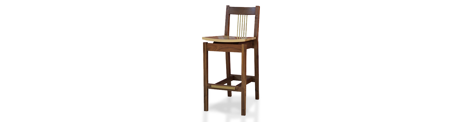 walnut and brass stool from bangers custom made fine wood furniture