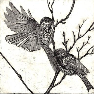 8 clockwork chickadee, etching, 2011, 6x6