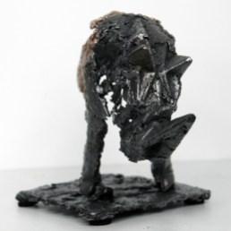 Sculpture de Philippe Buil - Pavarti Passage de Rhyno en dentelle de Bronze et d'acier - Pièce unique - hauteur 32 cm