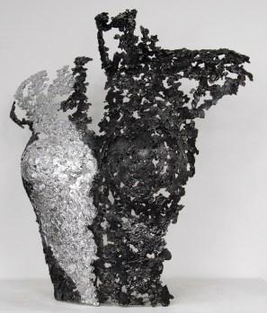 Sculpture de Philippe Buil en dentelle d'acier avec effet chrome Belisama Noddy Hauteur 43 cm 2,3 Kg Piece unique