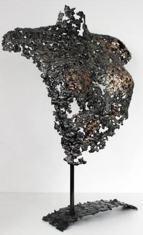 Sculpture de Philippe Buil en metal : dentelle d'acier et de bronze Buste de Femme Belisama Zelia Piece unique