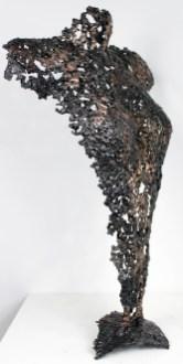 Sculpture de Philippe Buil en metal : dentelle de bronze et d'acier Corps de Femme Belisama Amazone Piece unique