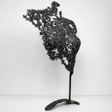 Sculpture de Philippe Buil en metal : dentelle d'acier Buste de Femme Belisama Hathor Piece unique