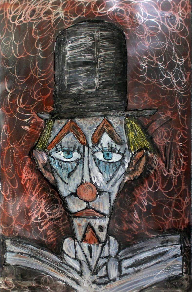 Tableau hommage Bernard Buffet Clown rouge - Tableau acier encr