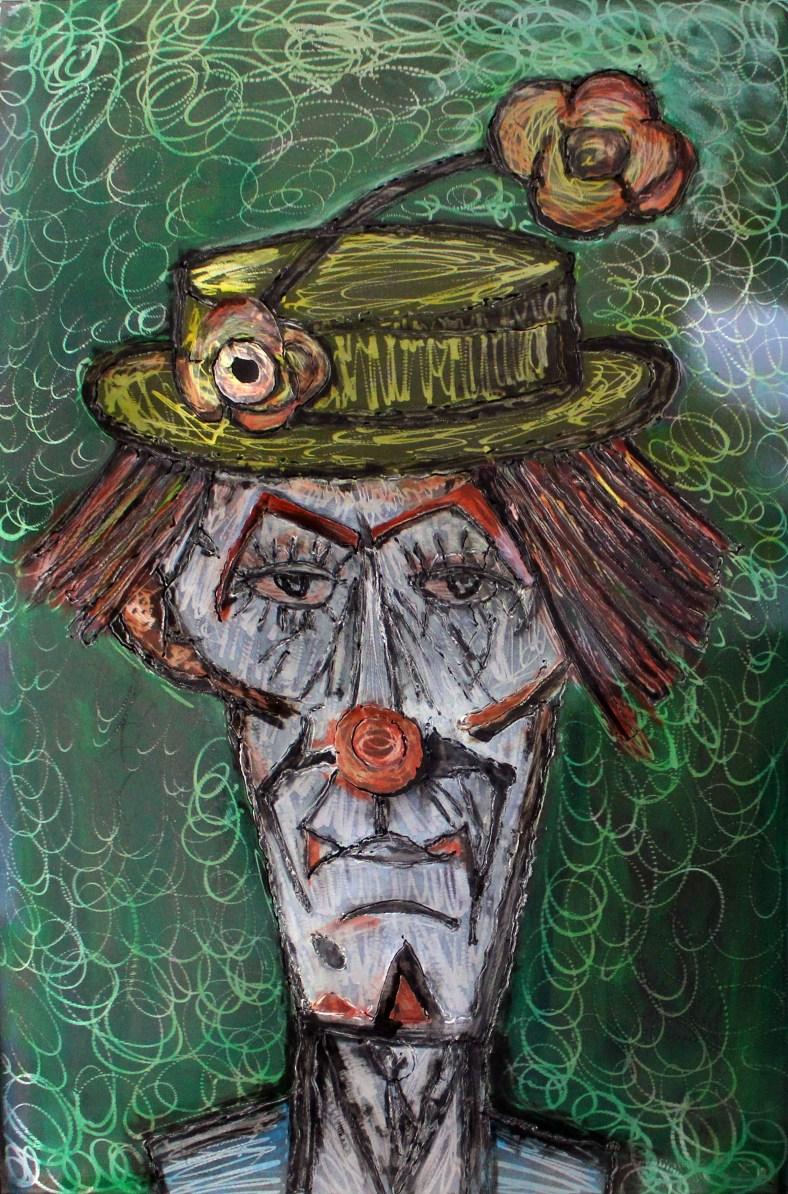 Tableau hommage Bernard Buffet Clown vert - Tableau acier encré
