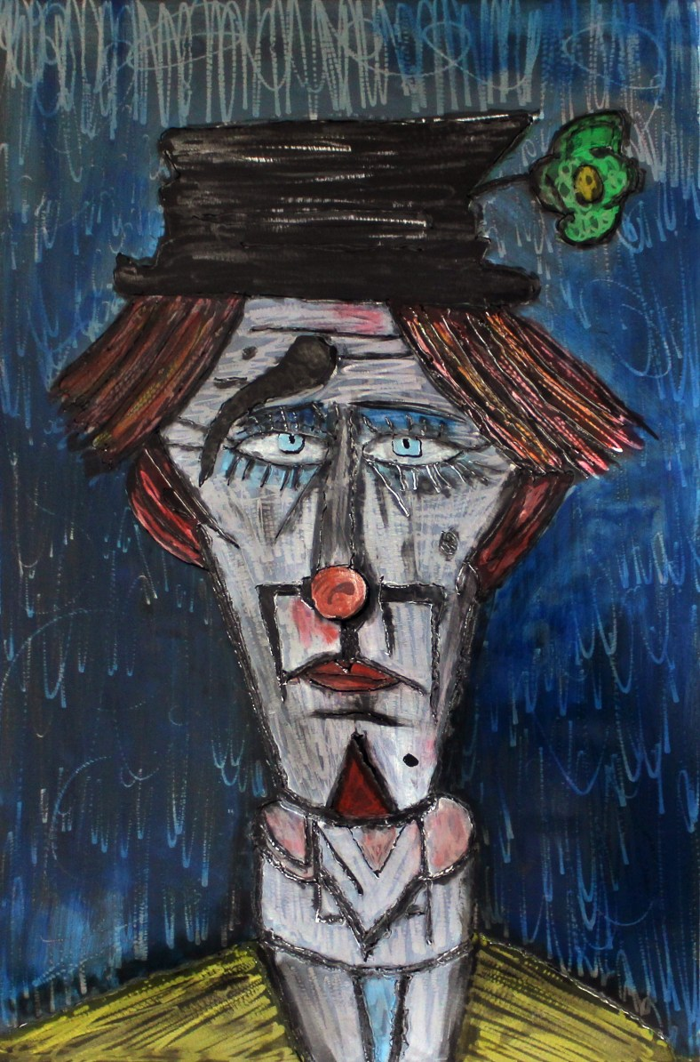 Tableau hommage Bernard Buffet Clown bleu - Tableau acier encré