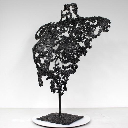Sculpture de Philippe Buil en metal : dentelle acier Buste de Femme Belisama Panama Piece unique