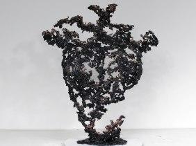 Sculpture de Philippe Buil en metal : dentelle acier bronze Buste de Femme Belisama Corail Piece unique Sculpture by Philippe Buil in metal: lace steel bronze Bust of the Woman Belisama Coral Unique Piece