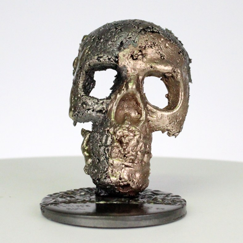 Crane CLXVIII - Sculpture tete de mort acier bronze laiton - skull artwork steel brass - Philippe Buil