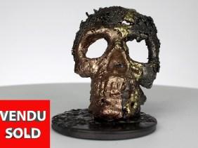 Crane CLXVII - Sculpture tete de mort acier bronze laiton - skull artwork steel brass - Philippe Buil