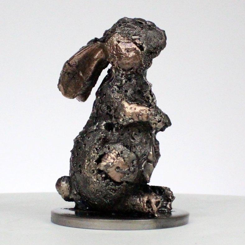 coniglio XI scultura animale in metallo coniglio bronzo e acciaio