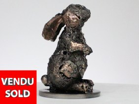 Buffon lapin - Sculpture animal dentelle bronze acier - rabbit sculpture lace bronze steel - Philippe Buil sculpteur