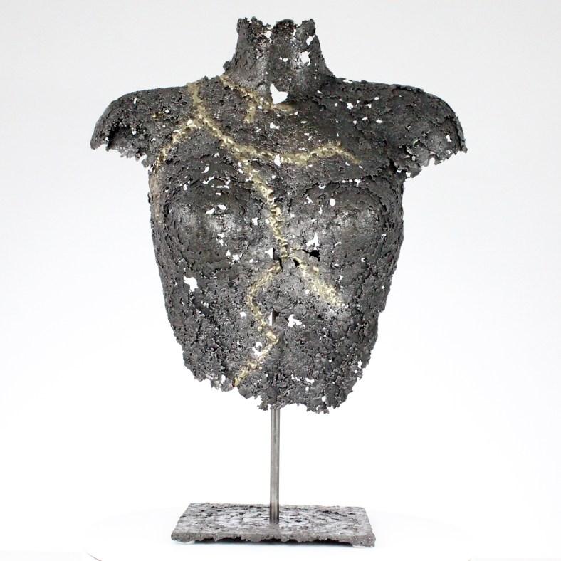 Belisama Lutchia - Bustier métal dentelle bronze laiton acier - Metal sculpture woman bust steel bronze brass lace - Sculpture Philippe Buil