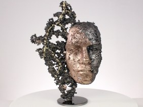 une larme sculpture visage metal acier bronze laiton a tear face sculpture metal steel bronze brass philippe BUIL