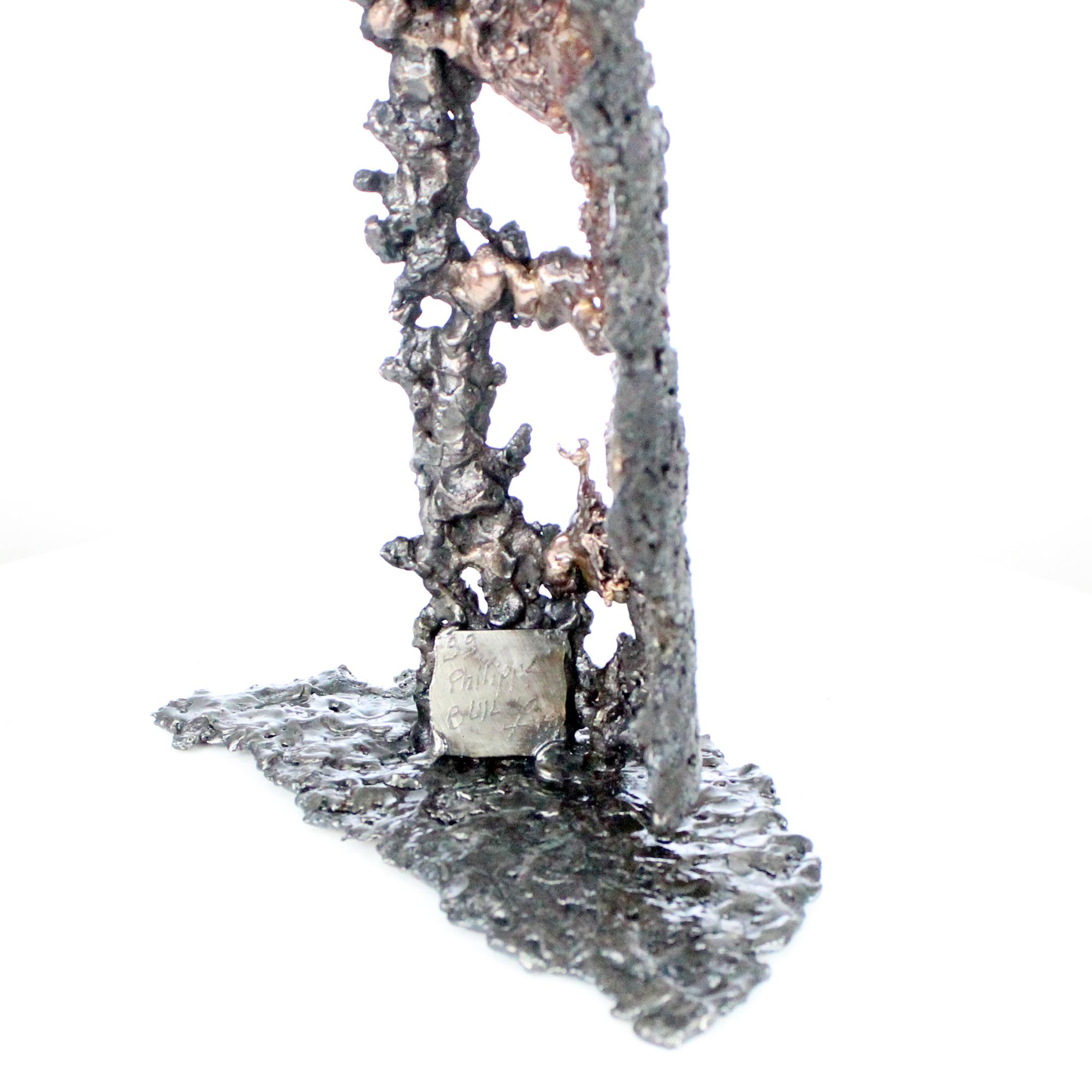 BOUTEILLE POIRE AUTOMNE - Sculpture bouteille en dentelle métal et bronze - BOTTLE PEAR AUTUMN - Sculpture bottle metal lace