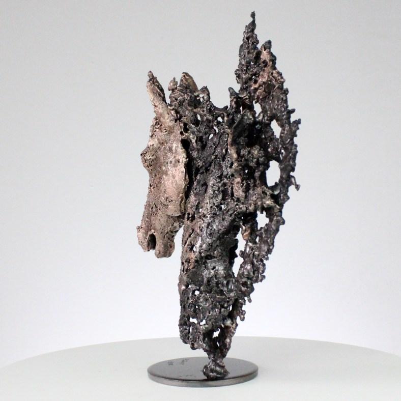 Cheval Barbe - Sculpture animal tête de cheval bronze acier - horse head sculpture bronze steel - Philippe Buil Sculpteur