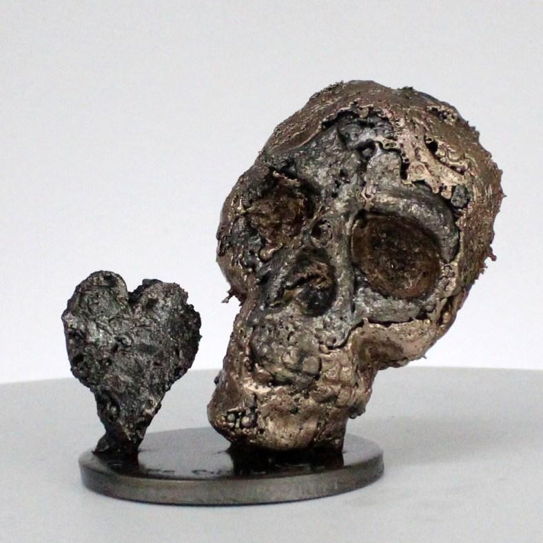 Crane 55-21- Sculpture tete de mort acier bronze - Vanite art - Skull artwork steel bronze - Buil