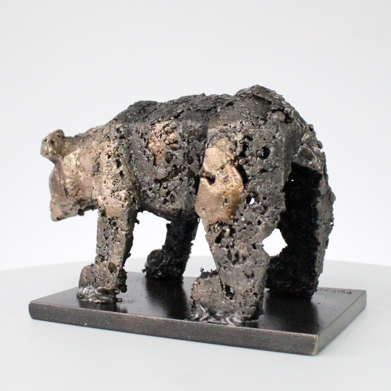 Buffon Ours Sculpture Bronze acier buffon bear steel philippe Buil