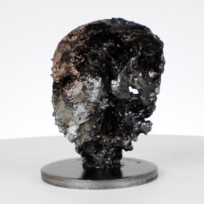 Crane Vanité - Sculpture tete de mort acier bronze aluminium - Vanite art - Skull artwork steel aluminium bronze- Buil
