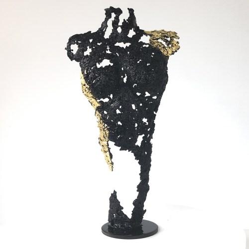 Pavarti défendue- Sculpture corps danseuse femme métal dentelle acier feuille or - Body woman defended metal artwork - lace steel gold leaf - Buil