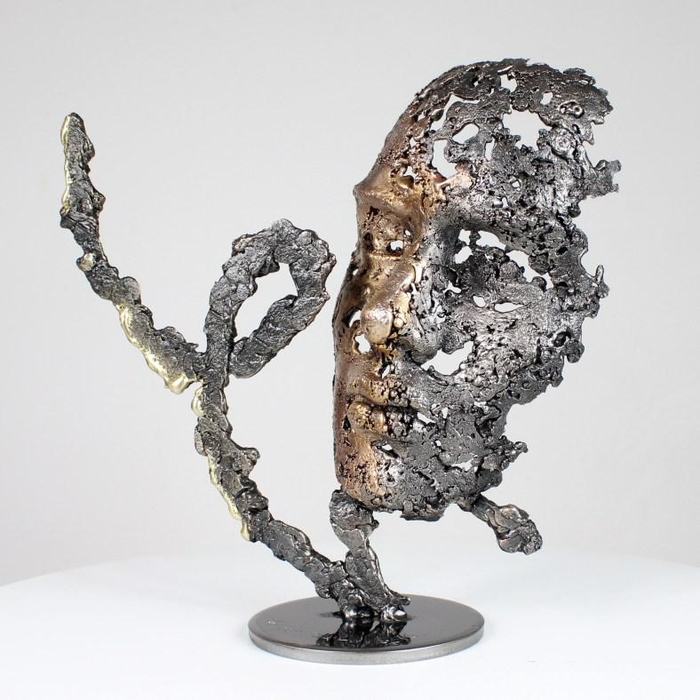 une larme amoureuse- Sculpture tête métal Acier bronze laiton - Sculpture head lover metal Steel bronze brass - Philippe Buil