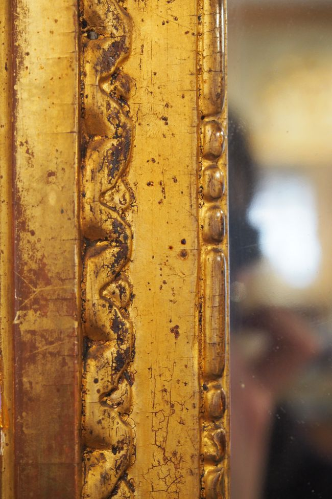 Grand Miroir Dpoque Louis XVI En Bois Sculpt Et Dor