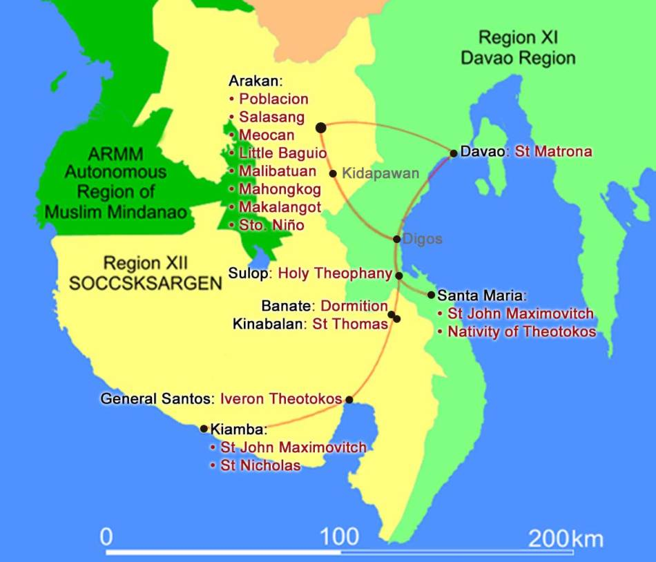 Map of Mindanao churches