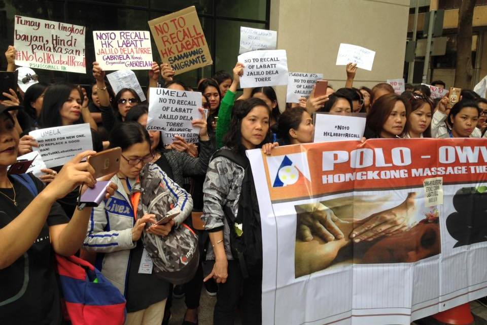 HK Filipinos took to streets to protest recall of labour attache
