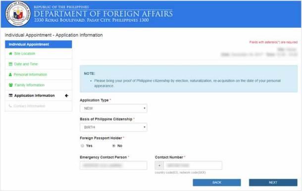 Step 6 - Application Information Form