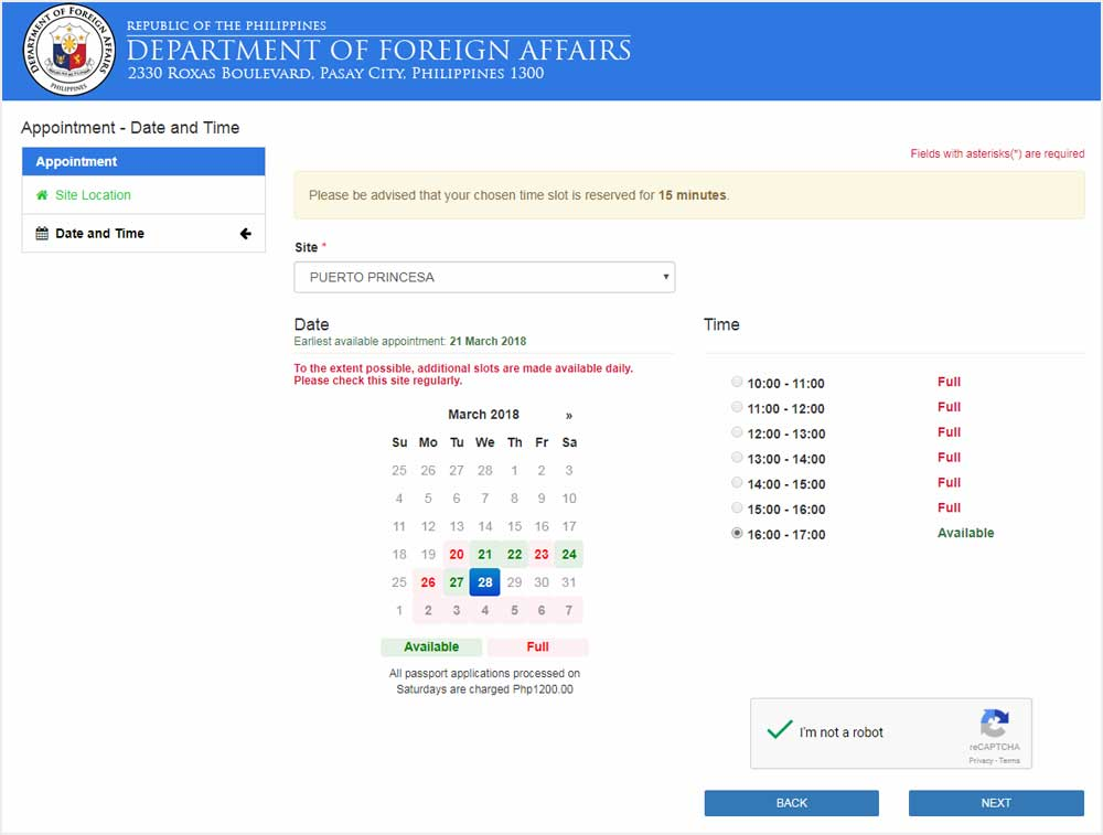 Online passport appointment date change