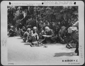 U.S. infantry calling for air-support on Mindanao, April-1945