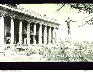 MANILA, THE PHILIPPINES, 1945. THE UNIVERSITY OF THE PHILIPPINES, DAMAGED BY SHELLFIRE. SEE ALSO P082/68/20. (DONOR: B. COOPER; PHOTOGRAPHER: ROXAS).